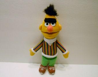Sesame Street  Bert stuffed Doll by Applause Jim Henson 1992 small 10 inches.