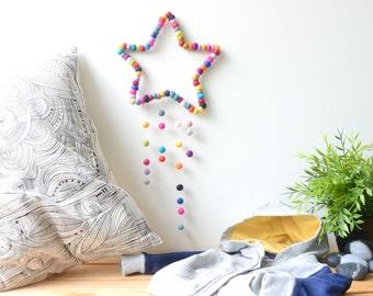 Star Mobile. Baby Nursery Mobile. Kids room. Baby decor. Colourful mobile. Children room Homewares Gift. Felt balls