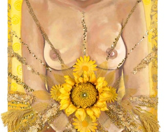 "Yellow Power - Reproduction Giclee on canvas 18""x36"""