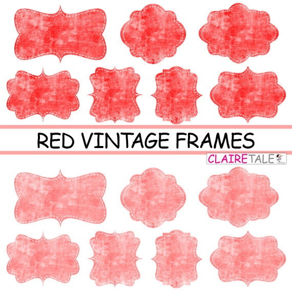 """Digital clipart labels: """"RED VINTAGE FRAMES"""" grunge clipart frames, labels, tags on vintage red background"""