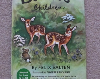 Vintage 1950 Bambi's Children by Felix Salten and Illustrated by Phoebe Erickson For Children Ages 5 to 10 Great Hardcover Book