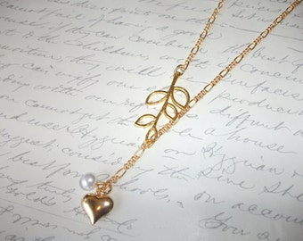 Gold branch lariat necklace with heart and pearl