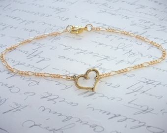 Gold heart anklet/bracelet/necklace
