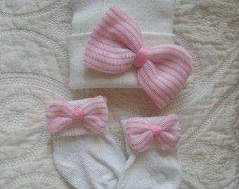 Newborn girl hat with matching socks.  Newborn gift set. Pink & White Striped Bow on socks matches your Newborn Hospital Hat/Beanie.