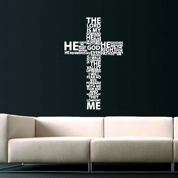 Wall Decor Jesus : Cross jesus christ wall decal religion prayer writing decals