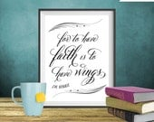 J.M. Barrie - Peter Pan - Faith quote print, Christian art print, Printable art wall decor, Inspirational quote poster - Instant Download
