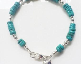 Turquoise Heart Charm Bracelet, Sterling Silver Bracelet, Blue Turquoise Gemstone Jewellery, December Birthstone Gift