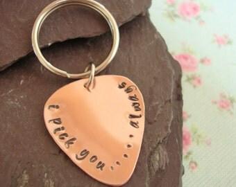 Personalised Gift for Him, Guitar Pick Key Chain, Custom Plectrum, Anniversary, Romantic Gift, Copper Keyring, Birthday Gift for Boyfriend