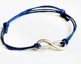 Infinity bracelet - Navy blue/silver