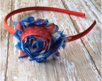 SALE Red White & Blue Shabby Chic Satin Wrapped Headband, American Flag Flower Basic Headband, Patriotic Headband, Girls Hair Bow, Hair Bow