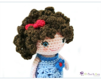 Crochet Brown Curly Hair Doll Amigurumi - Girl Stuffed Toy - MADE TO ORDER