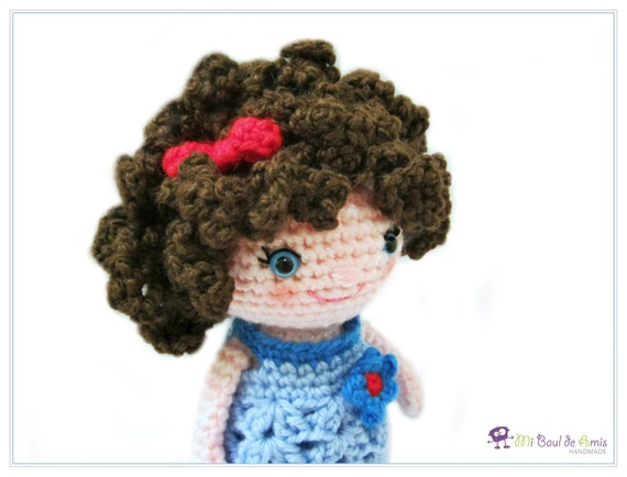 Amigurumi Curly Doll : Crochet brown curly hair doll amigurumi girl stuffed toy
