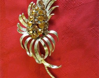 Vintage 1960's Coro Flower Pin Brooch With Amber Rhinestones - Free Shipping