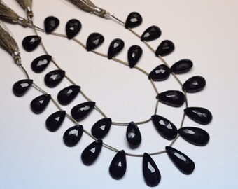 AAA 12 Inch 17-25mm 15 Beads Natural Black Onyx Faceted Pear Shape Flat Back Beads Strand