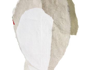White Fine Art Giclee Print, Small Paper Wall Art, Fugurative Collage Portrait