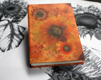 "SMALL hand bound journal, handmade notebook, personal diary, art journal, orange sunflower journal: ""Sunflower's loveliness"""
