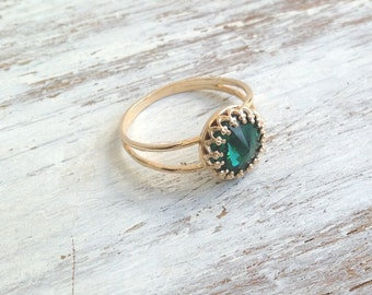 Stacking ring, Gold filled ring, emerald ring, green jewelry, stackable ring, gold and green B3