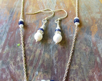 Sapphire and Pearl earring and Necklace set