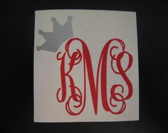 Crown Monogram  Car Decal - Monogram Crown Car Decal - Monogram Car Decal - Car Decal - Crown Decal - Monogram Crown  - Monogram Decal