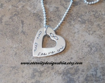 Personalized Couples Heart Infinity Necklace, True Love Has No End