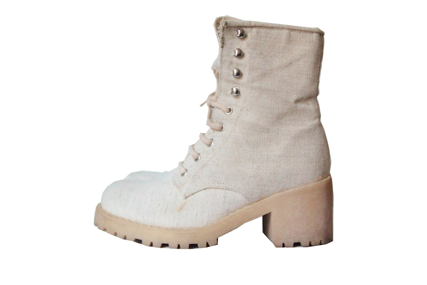 90s Combat Boots Beige Canvas Chunky Platform Rubber Sole