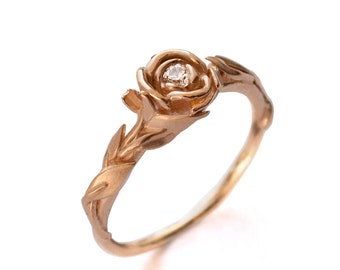 Rose Engagement Ring No.2 - 18K Rose Gold and Diamond engagement ring, unique engagement ring, leaf ring,flower, Beauty and the Beast Ring