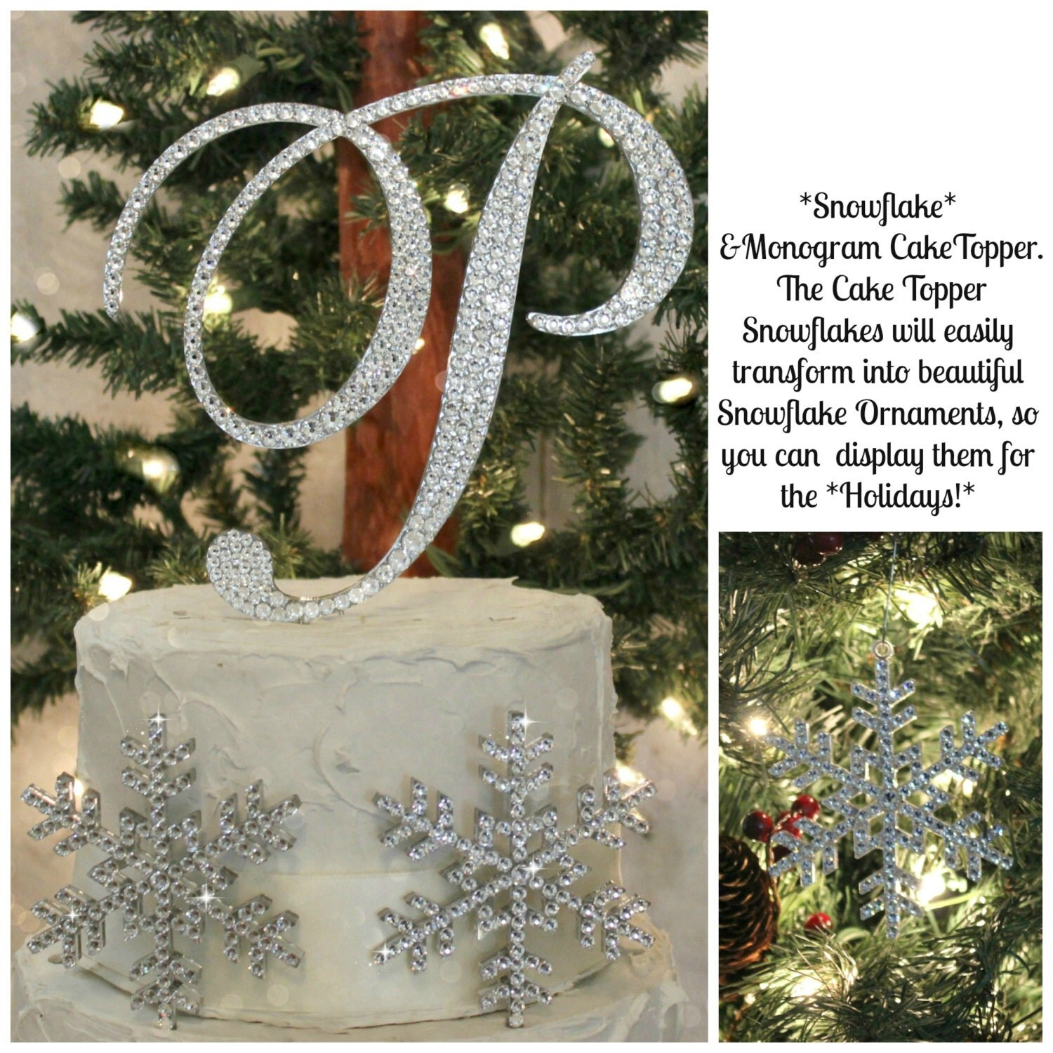 Winter Wedding Cake Topper 6 Initial & 2 Snowflakes