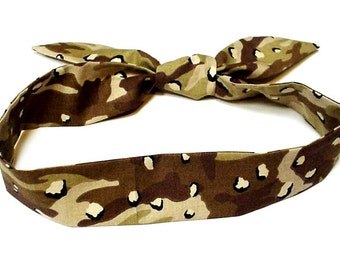 Camouflage Neck Cooler, Desert Tan Camo Stay COOL Tie Wrap, Heat Relief Cooling Bandana, Mudding Headband iycbrand