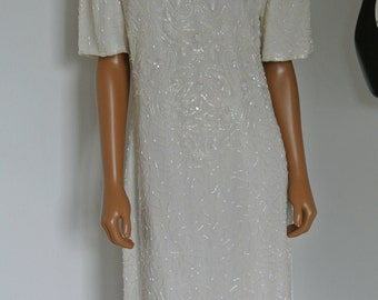 1990s Deco Sequin Encrusted Trophy Dress Bridal Wedding Ivory White Silk Sheath/Large