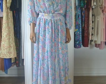 Susan Fres/Freis Dress 1980s Designer Dress Pastel Watercolors Floral Ruffled Fan Panels/M