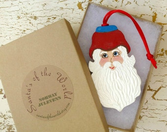 Norway Julevenn Santa Ornament Handcrafted Painted Christmas Collectable Tree Decoration