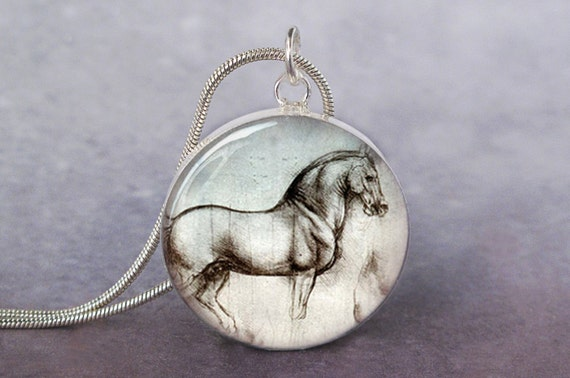 Da Vinci Horse art pendant charm for necklace or keychain equine art jewelry, Leonardo Horse Pendant, DaVinci Horse Illustration
