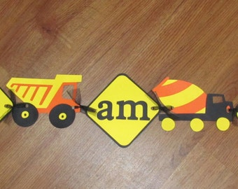 "Construction Highchair Banner - ""I am 1"" - 1st Birthday / Birthday Party"