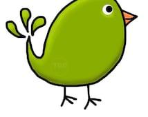 Preppy Cute Green Bird - Original art download, bird clip art, bird printable, bird graphic