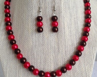 Red Beaded Jewelry Set, Red and Brown Pearl Necklace, Fall Wedding Jewelry, Bridesmaid Wedding Necklace, Bridesmaid Jewelry Gift,