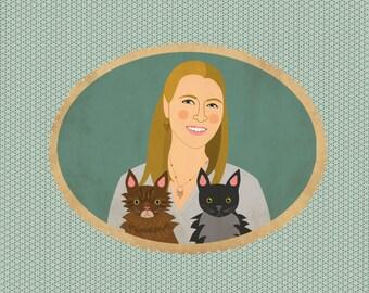 Personalized quirky pet portraits. Pet portrait commission. Custom pet portrait.