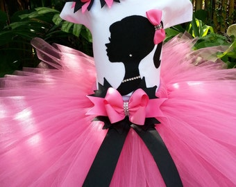 Pink tutu set. Girls tutu, silhouette tutu outfit, Birthday Tutu, Pink tutu, photo shoot,