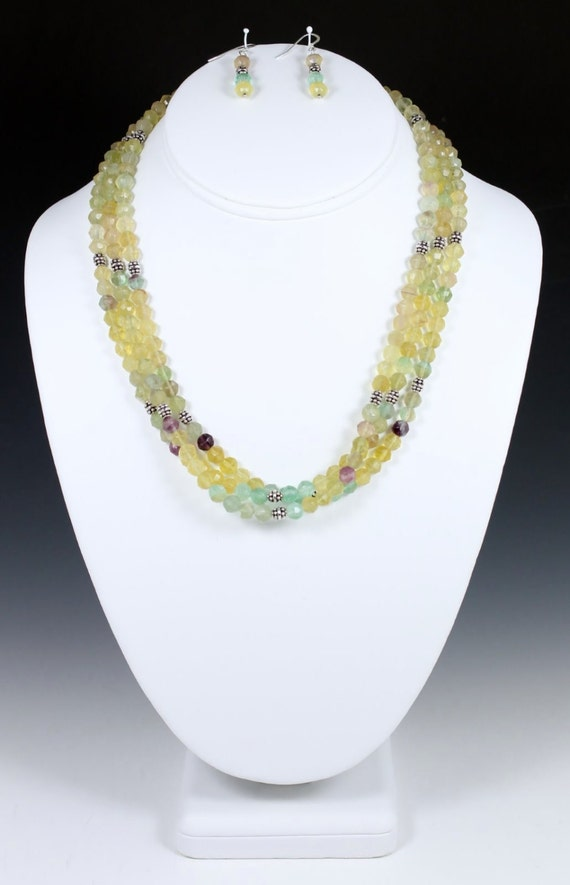 Triple-Strand Rainbow Fluorite Necklace and Earrings, Fluorite Necklace, Pastel Necklace
