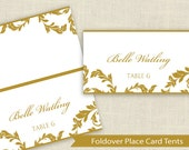 DiY Place Card Template - DOWNLOAD Instantly - EDITABLE TEXT - Flourish (Gold) - Microsoft Word Format - Avery 5302 Tent Compatible