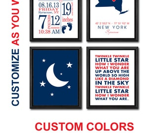 moon and stars baby nursery personalized, twinkle twinkle baby birth announcement PRINT or CANVAS, birth stats wall art, baby birth stats