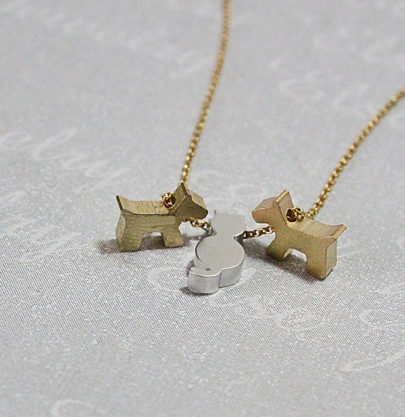 Puppy Dog With Cat Kitty Necklace -Initial Animal necklace,Two Dog One Cat Charm,Three Pet Initial Jewelry. Puppy Necklace, Animal Pet Lover