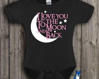 Cute baby clothes, I love you to the moon and back, baby shower gift,  by BlueFoxApparel *163
