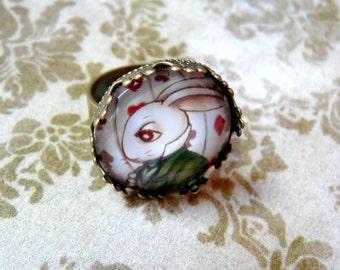 Alice in Wonderland ring, White Rabbit ring, Original Illustration, Wonderland Jewelry, Wonderland jewellery, gift for her, wonderland gift