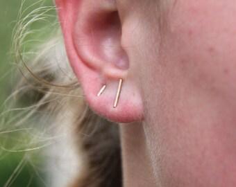 golden stud earrings . gold bar studs earrings. Sterling Silver. cartilage bar studs. earrings for him