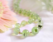 Natural faceted prehnite necklace with peridot and sterling silver *Free worldwide shipping*
