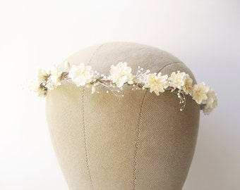 Bridal flower crown, Baby's breath wreath, Rustic wedding floral crown, Ivory crown, Floral headband - CLARA