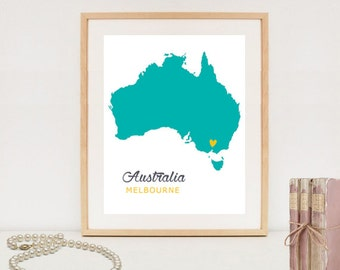 Australia map print - Custom state poster - Personalized map printable - DIGITAL map print only!