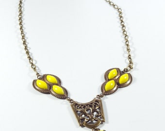 Antique Brass Collar Necklace, Yellow Victorian Style Statement Necklace