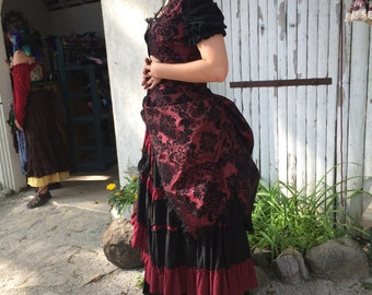 Romantic Victorian inspired Polonaise  Bustle Jacket with Side and Back Bustles