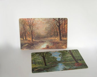 Set Of 2 Robert Wood Placemats Spring Amp Fall